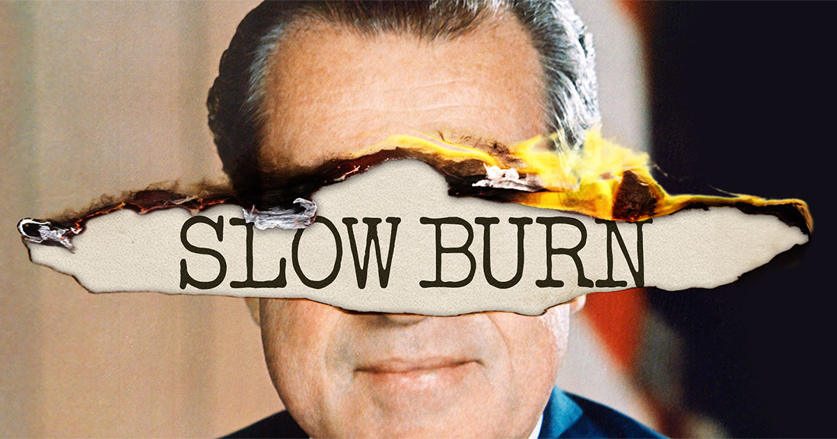 "Nixon's face with ""slow burn"" written over it in print type face"