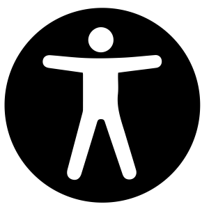 A black circle with a person in the middle, the icon for accesssibility