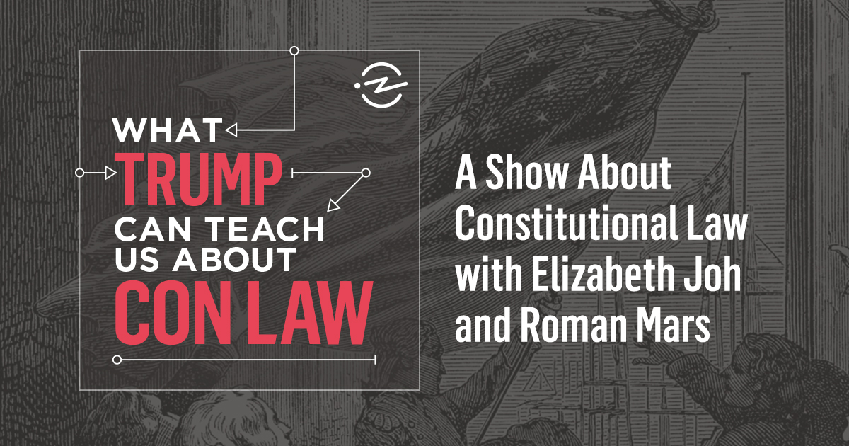 "promo poster with title and description ""A show about constitutional law with Elizabeth Joh and Roman Mars"""