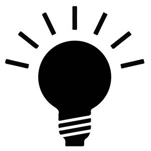 A light bulb with lines indicating that it is lit up
