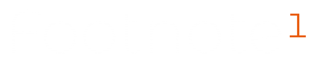 footnote logo - the word footnote in white, with a superscript number 1 in orange