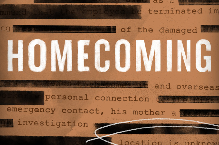 the promo picture for homecoming, the titles over redacted text